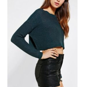Silence + Noise Army Green Stitch Cropped Sweater